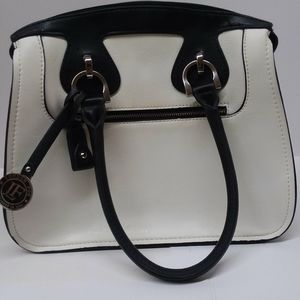 London Fog Women's Handbag Satchel White Black